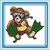 AngelGift Needlecrafts Stamped Counted Cross Stitch Set, Animal - Divers Bear