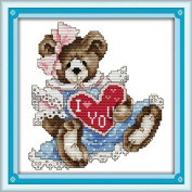 AngelGift Needlecrafts Stamped Counted Cross Stitch Set, Animal - Love Heart Bear