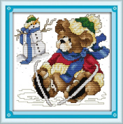 AngelGift Needlecrafts Stamped Counted Cross Stitch Set, Animal - Bear and Snowman