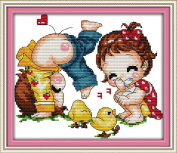 AngelGift Needlecrafts Stamped Counted Cross Stitch Set, Figure - Playing Partner
