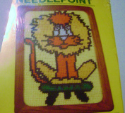 Vintage 1982 MH Yarns Needlepoint Lion 13cm X 18cm