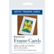 6 Pack 8.9cm x 12cm White Die Cut Window Artist Trading Card Frame Cards (Product Catalogue