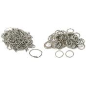 Nickel Plated Key Chain Ball Chain & Metal Split Rings Findings Kit 100 Pcs