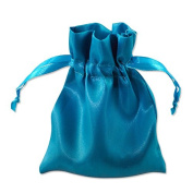 Satin Gift Bags Drawstring Pouches 10cm x 14cm Turquoise