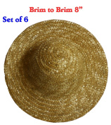 20cm (Set of 6) Vintage Round Top Straw Woven Hat for Dolls Bears Country Crafts