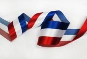 Top Quality Blue White Red Stripes Satin Ribbon American Flag 5.1cm - 0.6cm 1 Spool
