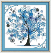Benway Counted Cross Stitch Blue Lucky Tree 14 Count 41X41cm