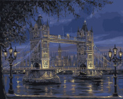 DIY Paint By Number Kits No Blending / No Mixing Linen Canvas Painting - London Tower Bridge
