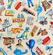 """""""Get Your Kicks"""" Route 66 Fabric 100% Cotton Designed by Dan Morris (Great for Quilting, Sewing, Craft Projects, Throw Pillows, Curtains, Valances & More) 1 Yard X 110cm"""