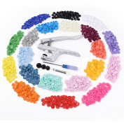 KAM Snap Pliers +300 Set T5 Snap Poppers Plastic Buttons 20 colours DIY Craft