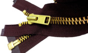 ZipperStop Wholesale Authorised Distributor YKK®Sale 46cm Extra Heavy Duty Jacket Zipper (Special Custom) YKK #10 Brass Separating ~ Colour 864 Cranberry Wine