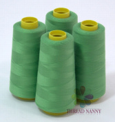 4 Large Cones (3000 yards each) of Polyester threads for Sewing Quilting Serger PISTACHIO Colour from ThreadNanny