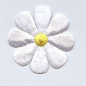 Large White Daisy Iron on Embroidered Patch