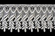 Altotux 11cm White & Ivory Venice Vintage Floral Lace Trim By Yard