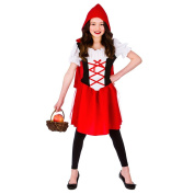 (L) Girls Little Red Riding Hood Costume for Fairytales Fancy Dress Kids Childs Large Age 8-10 years