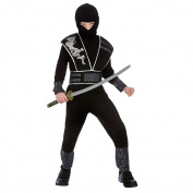 (L) Boys Elite Shadow Ninja Costume for Oriental Fancy Dress Childrens Kids Childs Large Age 8-10 years