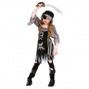 (L) Girls Zombie Ghost Pirate Halloween Costume for Fancy Dress Kids Childs Large Age 8-10 years