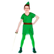 (L) Boys Lost Boy Robin Hood Elf Costume for Fairytales Fancy Dress Kids Childs Large Age 8-10 years
