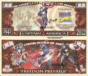 Novelty Dollar Captain America Freedom Prevails Million Dollar Bills x 4 Comic Book Super Hero