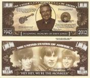Novelty Dollar Davy Jones In Loving Memory Of Million Dollar Bills x 4 Monkees Pop Rock Group