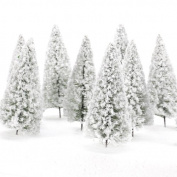 10pcs Scenery Landscape Model Cedar Trees 10cm White
