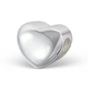 Plain Sterling Silver Love Heart Charm Bead. Will fit Pandora, Troll Chamilia Style Charm Bracelets