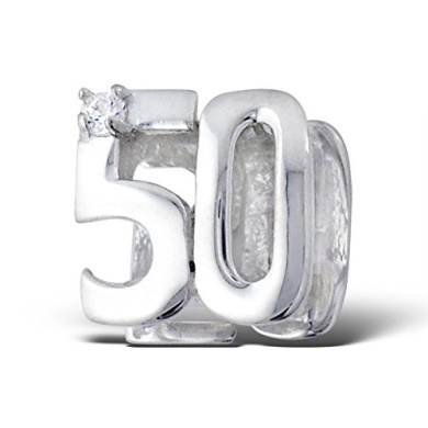 50th Birthday Sterling Silver Charm Bead with Diamante Diamond Stones. Will fit Pandora, Troll Chamilia Style Charm Bracelets or any bracelet up to 5.5mm in Diameter