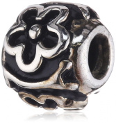 Pasionista Unisex Charm Bead Sterling Silver with Flowers 607573