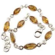 Citrine sterling silver bracelet - Length 19.5cm - 21cm