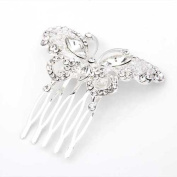 Ecloud Shop® Silver Plated Butterfly Crystal Wedding Prom Hair Comb Pin Fashion