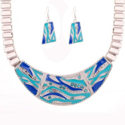 Tibetan Silver Blue Carved Crystal Earrings Necklace Jewellery Set