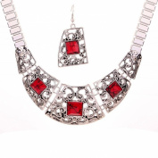Tibetan Silver Jewellery Red Turquoise Hollow Collar Necklace Earrings Set