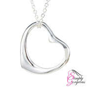 Silver Plated Open Love Heart Pendant & Chain Necklace