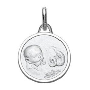 Helios Bijoux Pendant Birth Pendant Aries Astrological Sign of the Zodiac, 925 Solid Silver, Rhodium