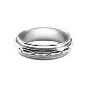 """Ring With Rotating Band'Anti-stress"""" Men's 6 mm 925 Solid Silver, Rhodium, Size 68/New/FranceBijoux"""