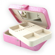 Pink Faux Shimmer Leather Travel Jewellery Case with Lift Out Tray
