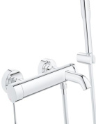 GROHE 33628001 Essence Single Lever Bath/Shower Mixer with Shower Set includes Hand Shower/Hose and Wall Holder