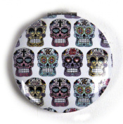 Sugar Skulls on White - Circular Compact Handbag Mirror