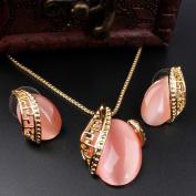 18K GP Faux Opal Necklace & Earrings Set
