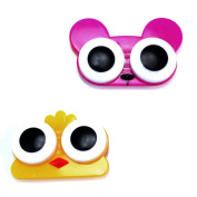 2 Pcs Cute Wide Eye Style Animal Pattern Contact Lens Case Box Holder Accessory