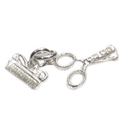 Comb and Scissors sterling silver charm .925 x 1 Hairdressing charms CE2465