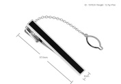 Men's Silver & Black Tie Clip with Alfred & Co. Jewellery Box