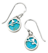 Elements Sterling Silver Ladies' E3977T Turquoise Disc Earrings with Flower Pattern