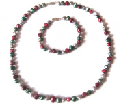 Treasurebay Beautiful Multi-coloured Irregular Freshwater Pearl Necklace and Bracelet Jewellery Set - Presented in A Beautiful Jewellery Gift Box