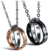 Jewow Jewellery 2 Piece Stainless Steel Interlocking Double Ring Necklaces Gifts for Couples