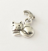 SMALL SILVER CAT SITTING CURLED UP CLIP ON CHARM - TIBETIAN SILVER - FREE P & P