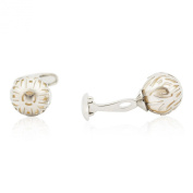 . Silver Caged Pearl Cufflinks in White