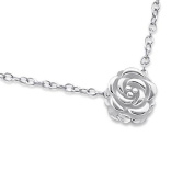 Discreet Sterling Silver Necklace with Small (Tiny) Rose Flower Pendant
