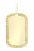 Carissima 9ct Yellow Gold Greek Key Edged Dog Tag Pendant of 2cm