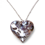 TV Inspired Vampire Silver Tone Filigree Heart Pendant